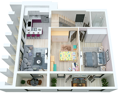 3d layout of apartments.