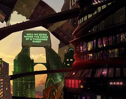 Cyberpunk City in 2050