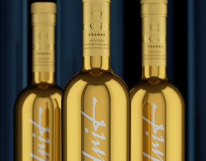 Alexandrit. Cognac in golden bottle