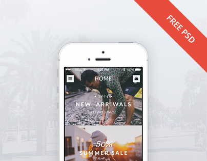 eCommerce store app for iOS (FREE Theme PSD)