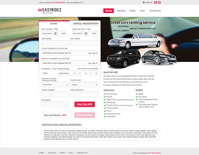 Easyridez Limo Service Website Design