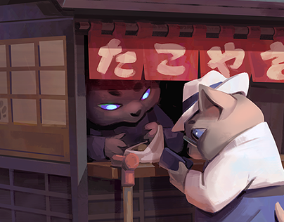 Takoyaki and cats illustration