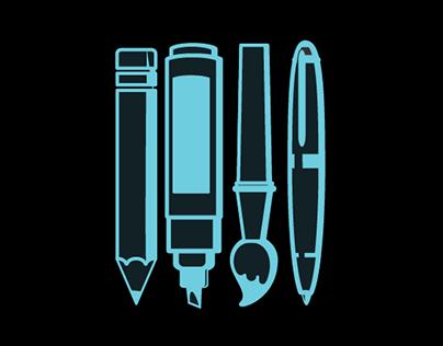 Art & Coffee | Artist Icon Set Illustration