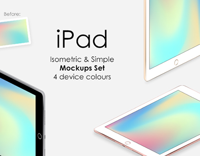 iPad Isometric & Simple Mockups Set