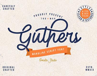 Guthers - Monoline Script Font (FREE FONT)