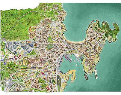 Map of La Coruña, Spain in 100 x 70 cm
