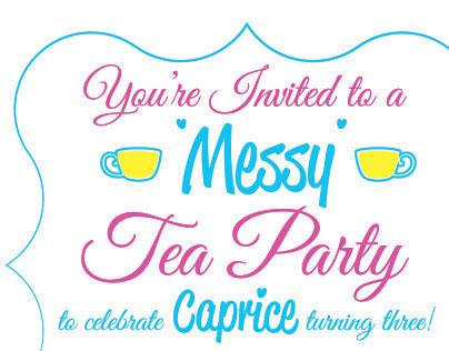 Messy Tea Party Birthday Invitation