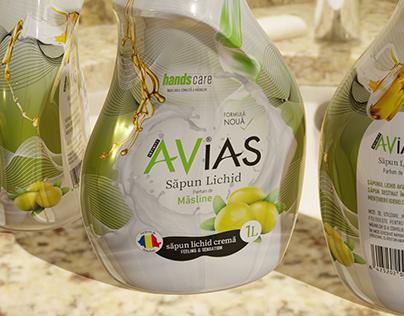 AVIAS - liquid soap - SLEEVE layout design