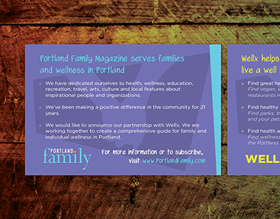 Postcard Design - WellxPDX & Portland Family Magazine