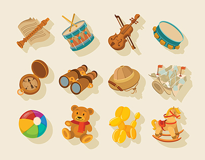 Flat toys icons for app