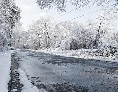 Snowy Winter Road - Backplate & HDRI