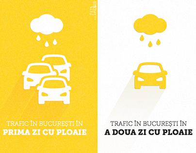 Bucharest traffic in a rainy day