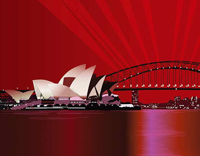 Red Sydney Harbour - Boxgrafik