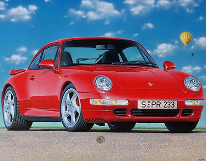 Porsche 911/993 Turbo, photorealistic illustration