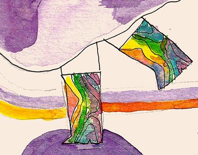 Rainbow boots - Watercolor Illustration