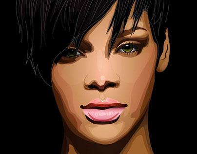 Portrait of the singer Rihanna. Vector graphics.
