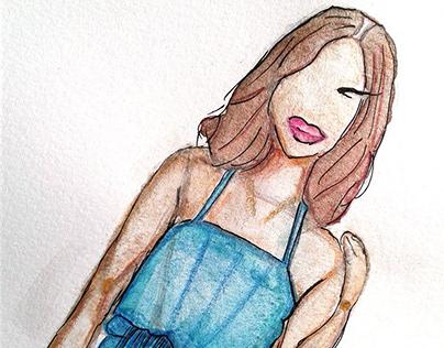 Metallic Watercolour Fashion Illustration