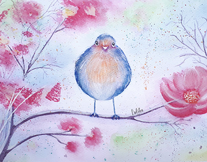 Purple Blossom Bird