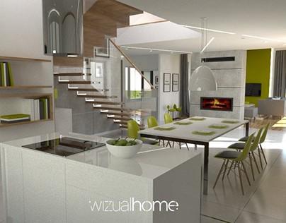 Projekt domu z zielonym akcentem