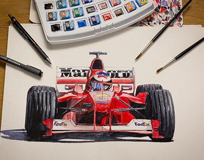 Watercolor - Ferrari F1 2000