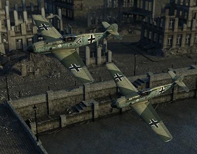 Bf 109 ruins 3D Rendering