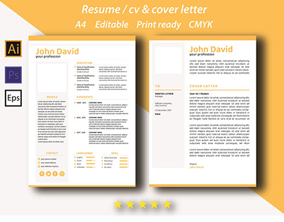resume / cv & cover letter template yellow color