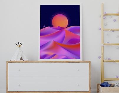 Night on desert - illustration.