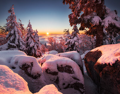 January snow and sunset