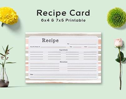Free Stripe Pattern Recipe Card Template