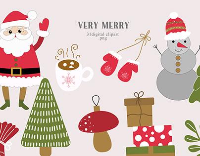 Cute Christmas clipart set
