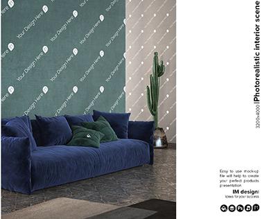 Wall & pillows interior mock-up
