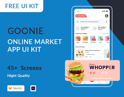 Goonie Online Market - Free UI Kit for XD & Sketch
