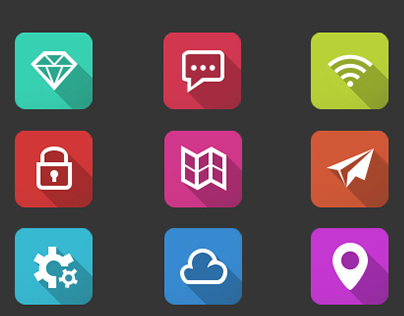 12 flat icons pack | FREE PSD