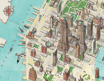 3d Manhattan New York map on Behance