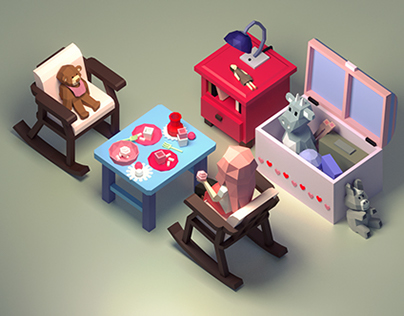 Little girl playing in her bedroom