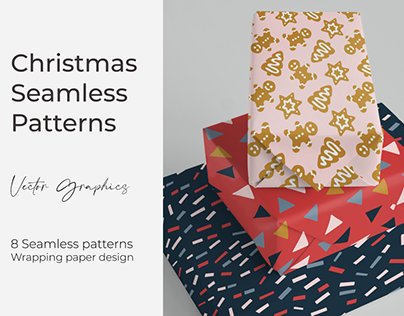 Christmas vector seamless pattern collection