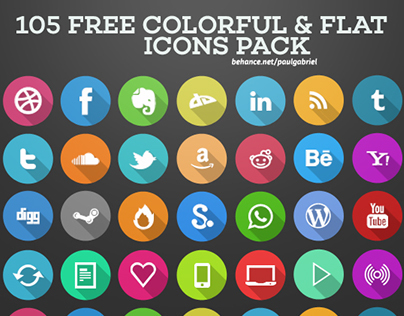 105 Colorful & Flat Icons Pack | FREE