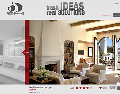 layout and UI design for PHOTOS4HOME