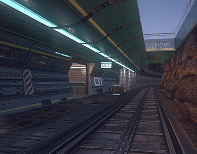 Sci fi corridor Low Poly environment