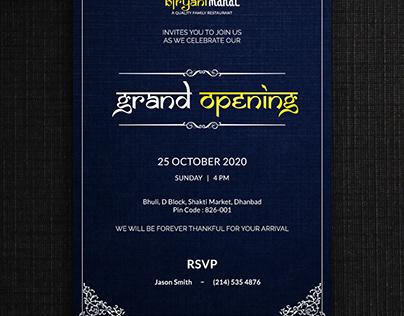 Invitation card design for local restaurant.