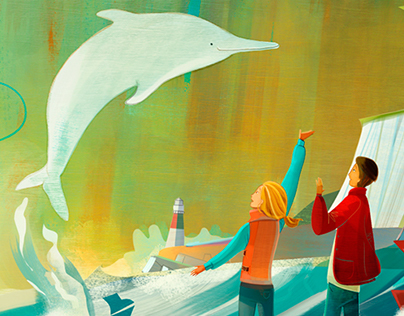 "Cover Illustration for ""White Dolphin""."