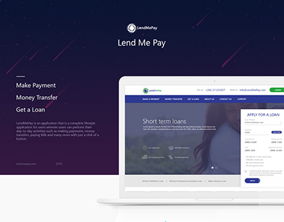 Lend Me Pay website and dashboard UI