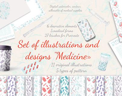 "Set of illustrations and designs ""Medicine»"