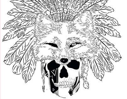 Skulls, Indian fox, Vitage Skull