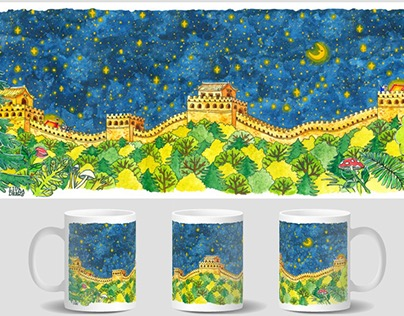 Night Camping at The Great Wall Mug