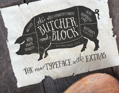 Butcher and Block font + Extras