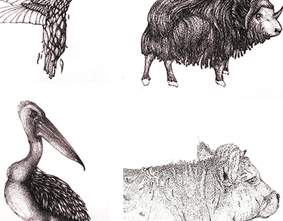 Black Pointillism Animals