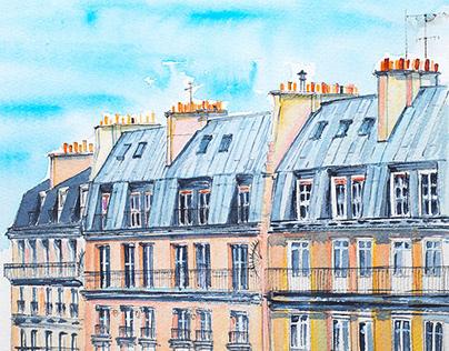 Architecture sketch watercolor