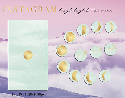 Moon phases Instagram highlight covers