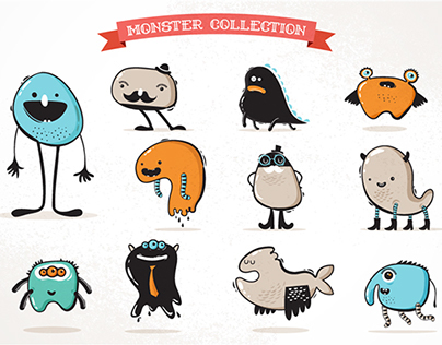 Cute monster and beast icons